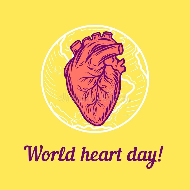 Global bakgrund för hjärtadagbegrepp, hand dragen stil royaltyfri illustrationer