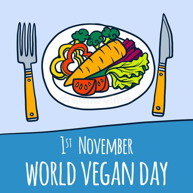 Global bakgrund för strikt vegetariandagbegrepp, hand dragen stil stock illustrationer