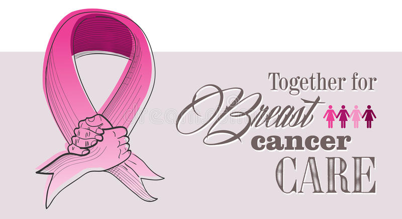 Global Breast cancer awareness concept illustratio. Global collaboration breast cancer awareness concept illustration. Human hands shake creating ribbon symbol vector illustration