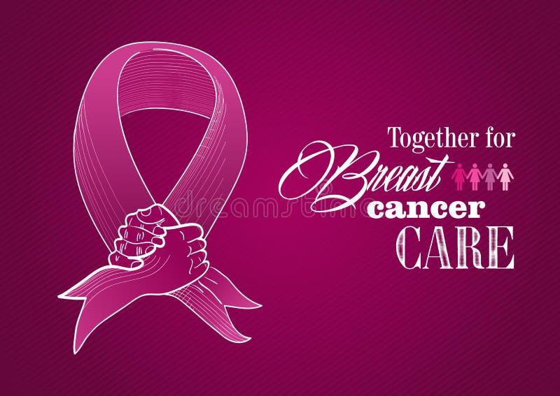 Global Breast cancer awareness human hands ribbon stock illustration