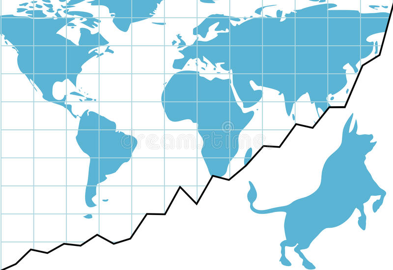 Download Global Bull Market Chart Stocks World Growth Graph Stock Vector - Illustration: 17750057