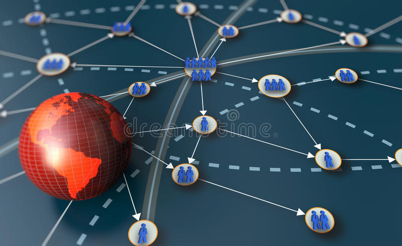 Global business. Network with detail map stock illustration