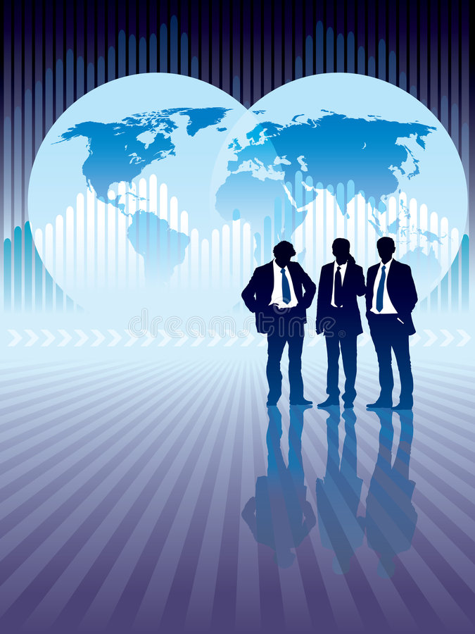 Global business. People are standing, world map and graph in the background, conceptual business illustration. The base map is from Central Intelligence Agency stock illustration