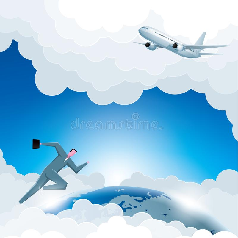 Global business, airplane flying, businessman running. Business design concept, global business, airplane flying, businessman running stock illustration
