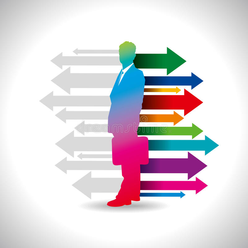 Global business arrow with businessman.  royalty free illustration