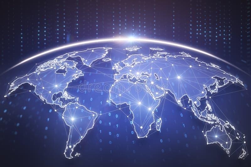 Global business background. Digital blue globe interface. Global business background. 3D Rendering stock image