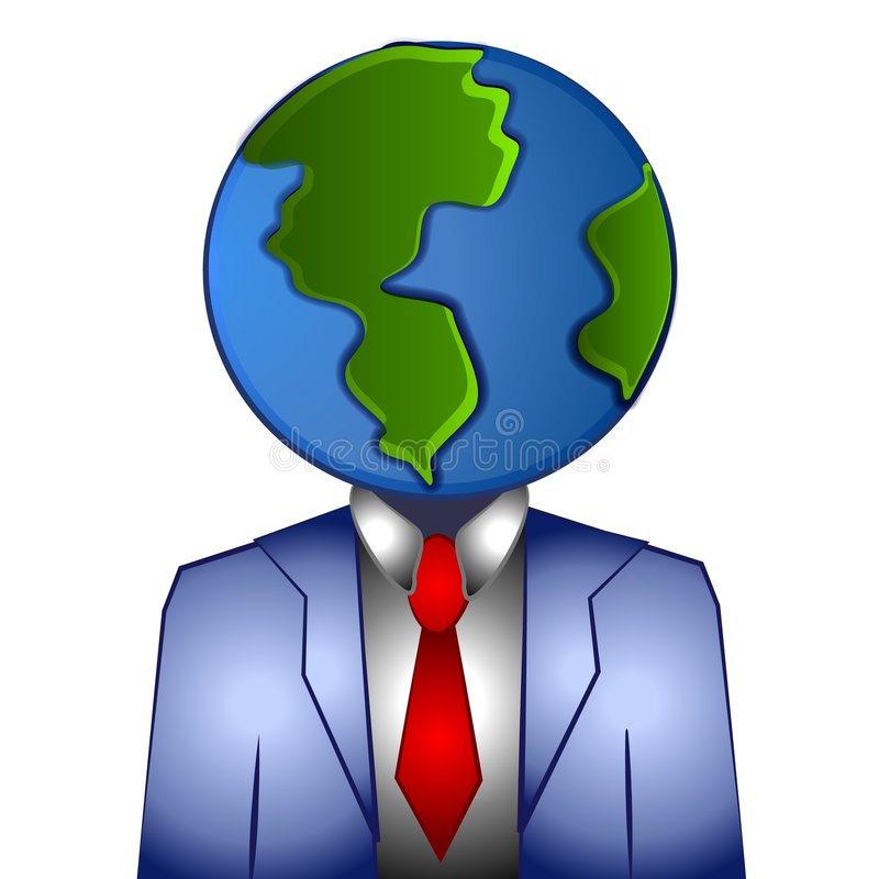 Global Business Businessman. A clip art illustration of a business man with his head as the planet earth. This is a representation of business and corporations vector illustration