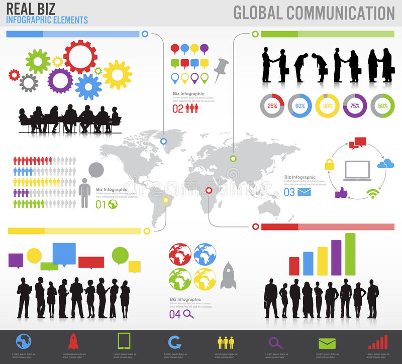 Global Business communications. Global Business Vector Set with people stock illustration