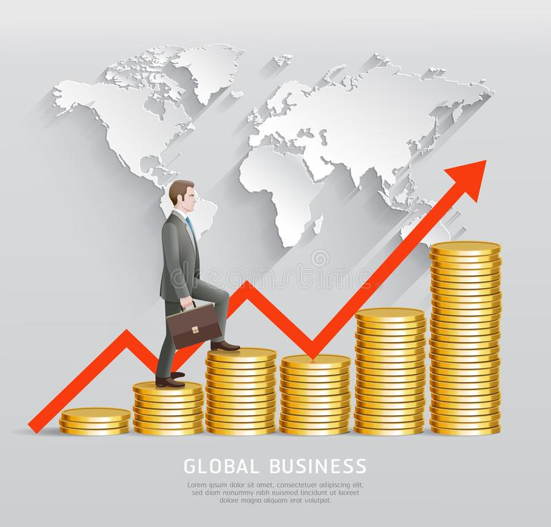 Global business concept. Businessman climbing up on gold cions with red arrow and world map. Global business concept. Businessman climbing up on gold cions with stock illustration