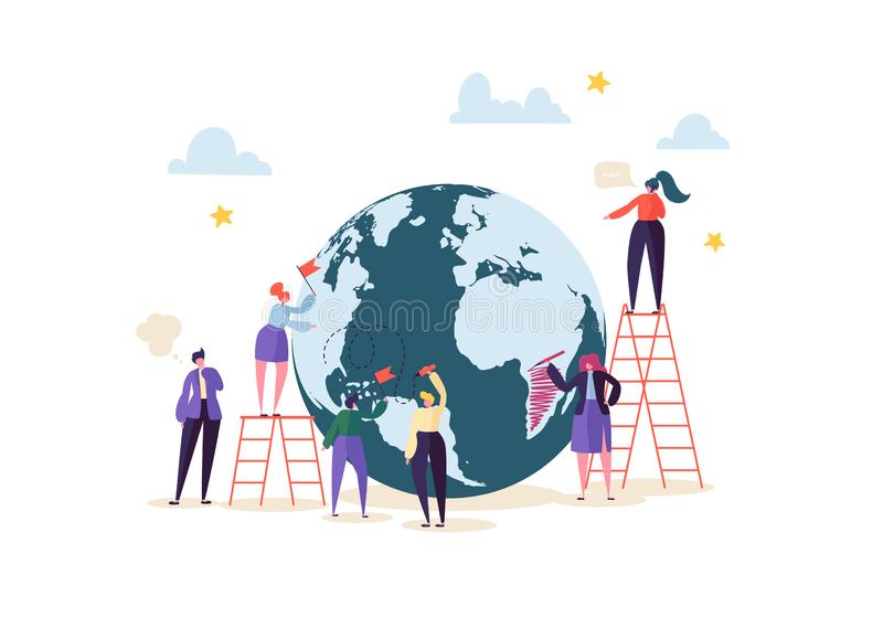 Global Business Concept with Characters Working Together. People Communicating in Work Process. Teamwork Cooperation vector illustration