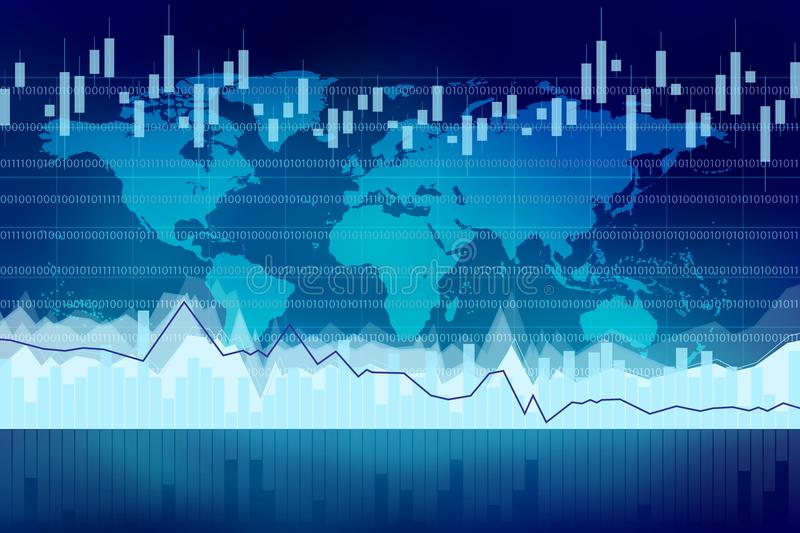 Global business concept... Global business chart with world map and financial values graph stock illustration