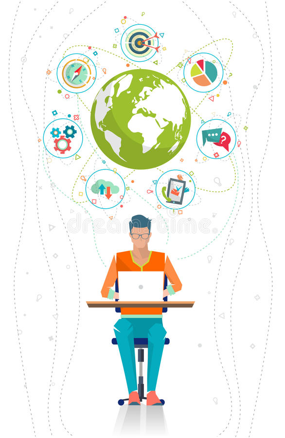 Global business concept. Communication in the global networks. Multitasking in business. Long-distance administration and management. Concept of social media stock illustration