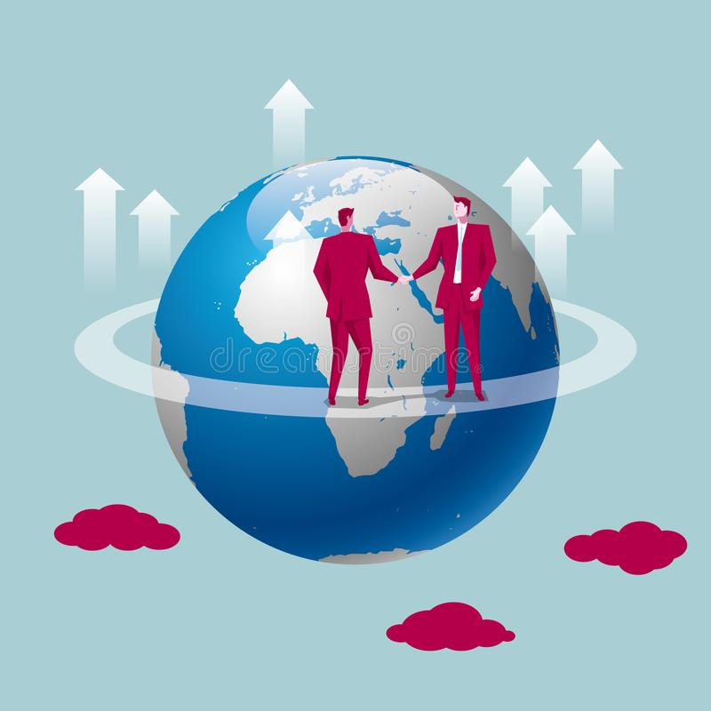 Global business concept design, businessman shaking hands on the globe. The background is blue stock illustration