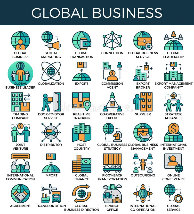 Global business concept icons. Global business concept detailed line icons set in modern line icon style for ui, ux, website, web, app graphic design royalty free illustration