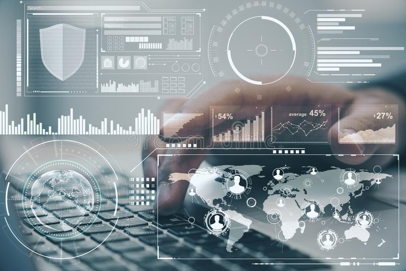 Global business concept with digital screen with data analysis and man typing on keyboard.Double exposure stock illustration