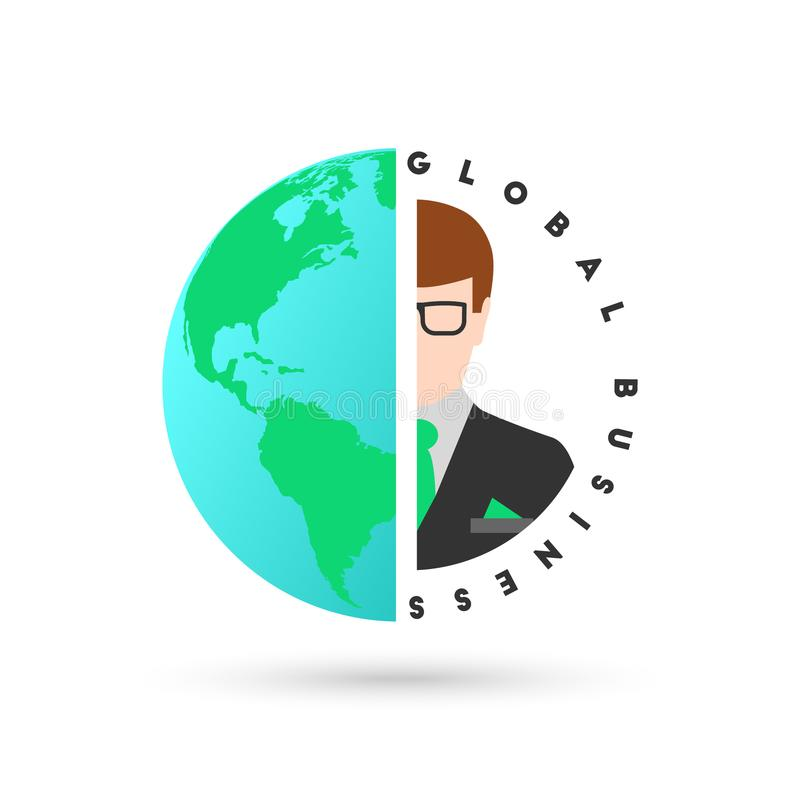 Global business concept with globe and businessman. In flat design. Map displaying North and South America royalty free illustration