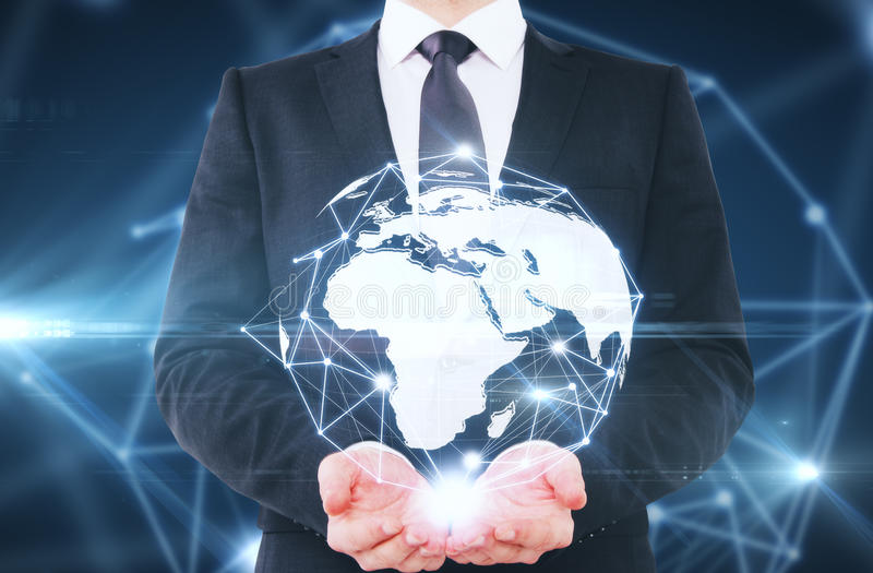 Global business concept. Man holding abstract connected globe on blue background. Global business concept vector illustration