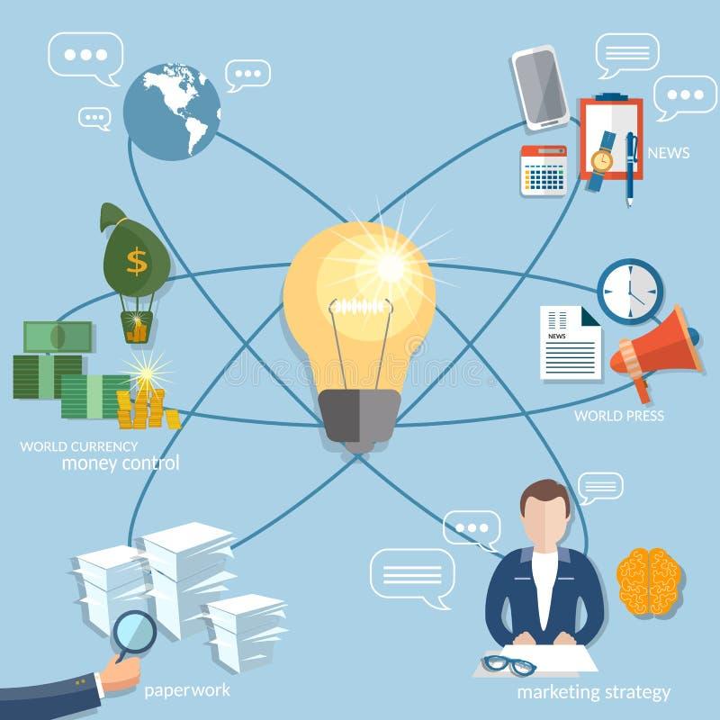 Global business concept startup businessman finance online. Payment management money transaction flat vector illustration stock illustration
