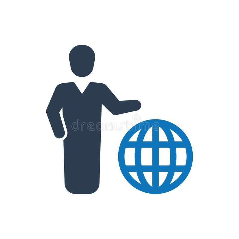 Global Business Icon. Simple Illustration Of A Global Business Icon royalty free illustration