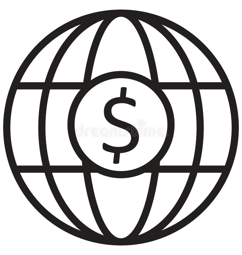 Global business, International business line isolated vector icon can be easily modified and edit stock illustration