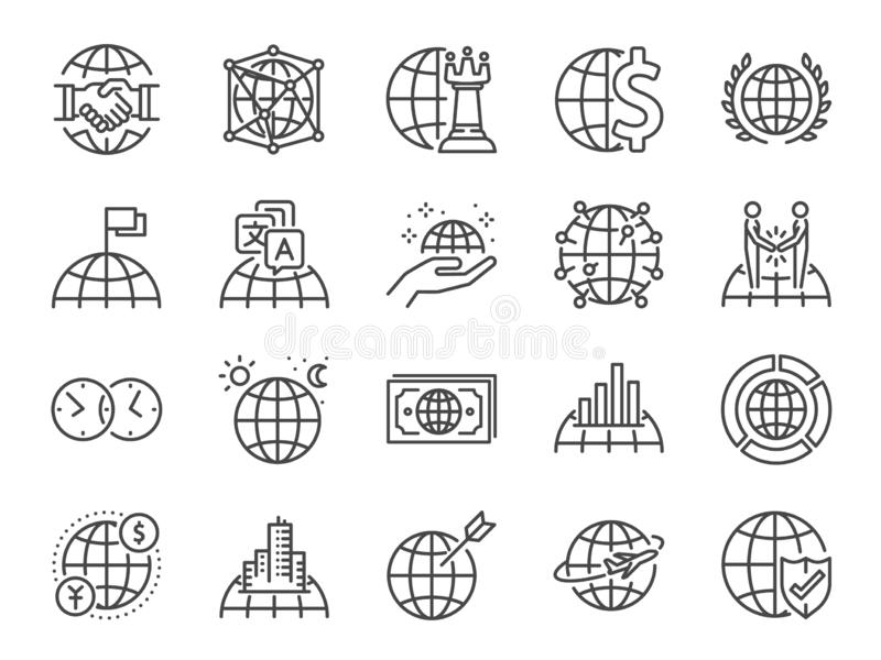 Global business line icon set. Included icons as world class, international, finance, cooperation, strategy and more. Vector and illustration: Global business vector illustration