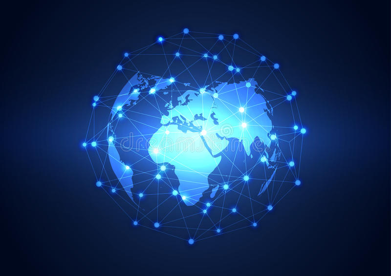 Global Business Network Technology Background, Vector ...