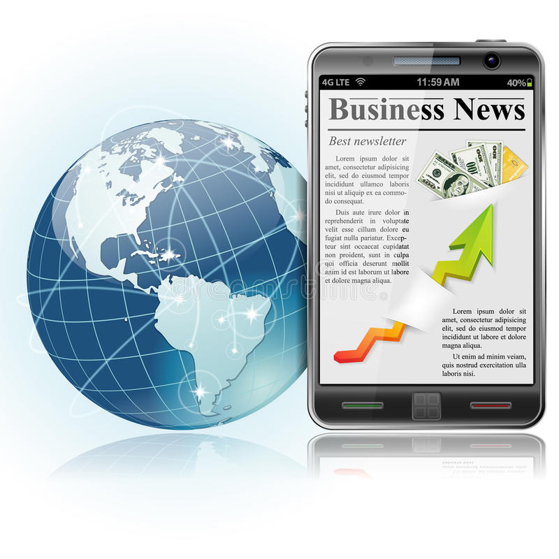 Download Global Business. News On Smart Phone Stock Photos - Image: 24130483