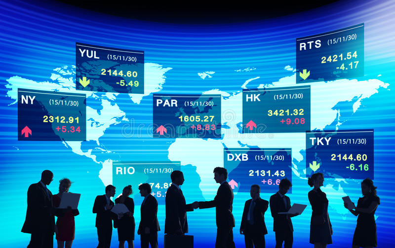 Global Business People Discussion Stock Market Concept.  royalty free stock photography