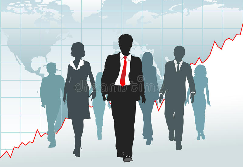 Global business people team walk chart world map. Global Business People walk from a financial growth chart on world map royalty free illustration