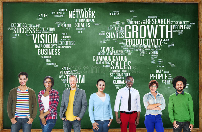 Global Business People Togetherness Community Success Growth Con stock illustration