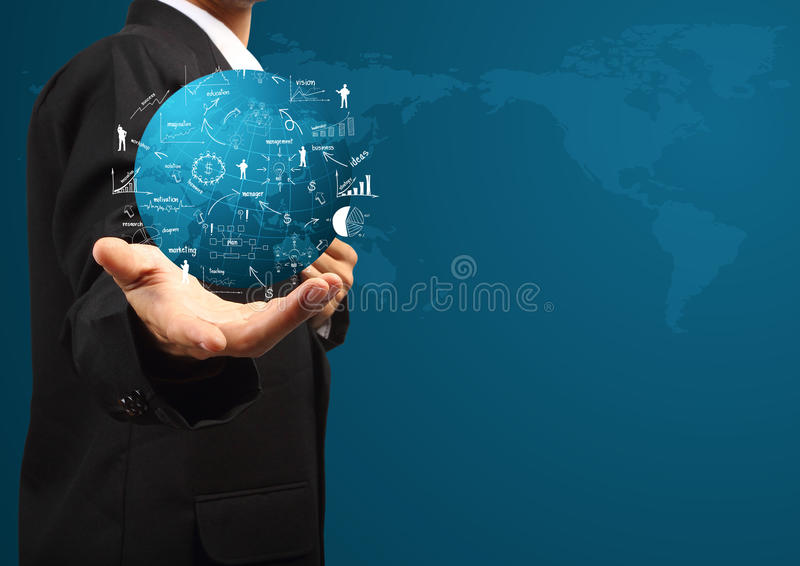 Global business plan in hand of businessman stock illustration