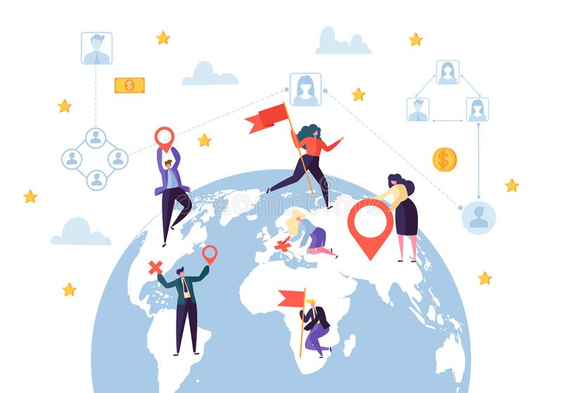 Global Business Social Profile Connection. Worldwide Businessman Communication Network Concept. Earth Globe Design. Flat Cartoon Vector Illustration stock illustration