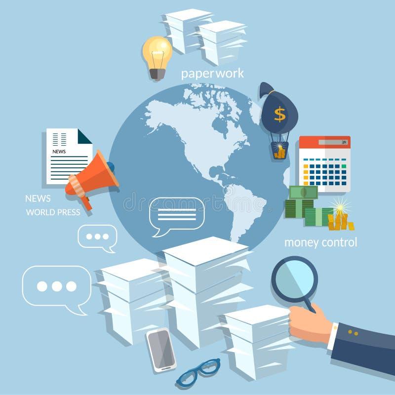 Global business startup training concept hand businessman. Finance online payment management money transaction flat vector royalty free illustration