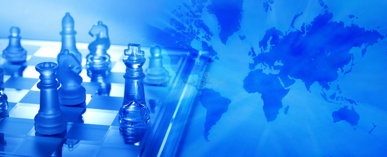 Global Business Strategy Chess Banner. An image combining chess and a world map trying to convey global business strategy