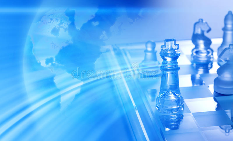 Global Trade Business Strategy Chess Background. A montage of an abstract world globe map and a chess board background