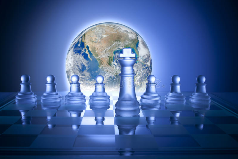 Global Business Strategy Chess Economy Conflict. An image combining chess and a world globe trying to convey global business strategy vector illustration