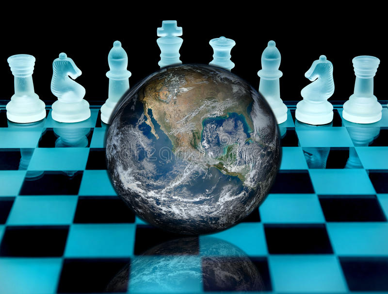 Global business strategy. Concept depicted by planet Earth on a chess board royalty free stock photography