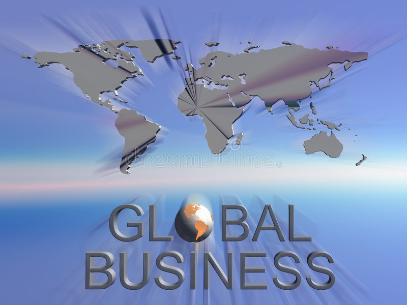 Global business world map. Background, illustration of global business sign with world map in background. Communication, corporate concept stock illustration