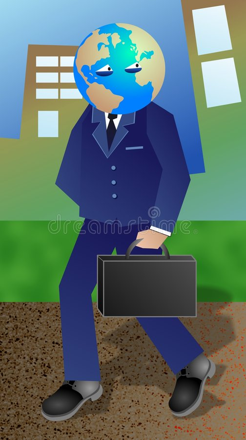 Global Businessman. Businessman concept illustration representing a businessman who travels and deals with clients all over the world royalty free illustration