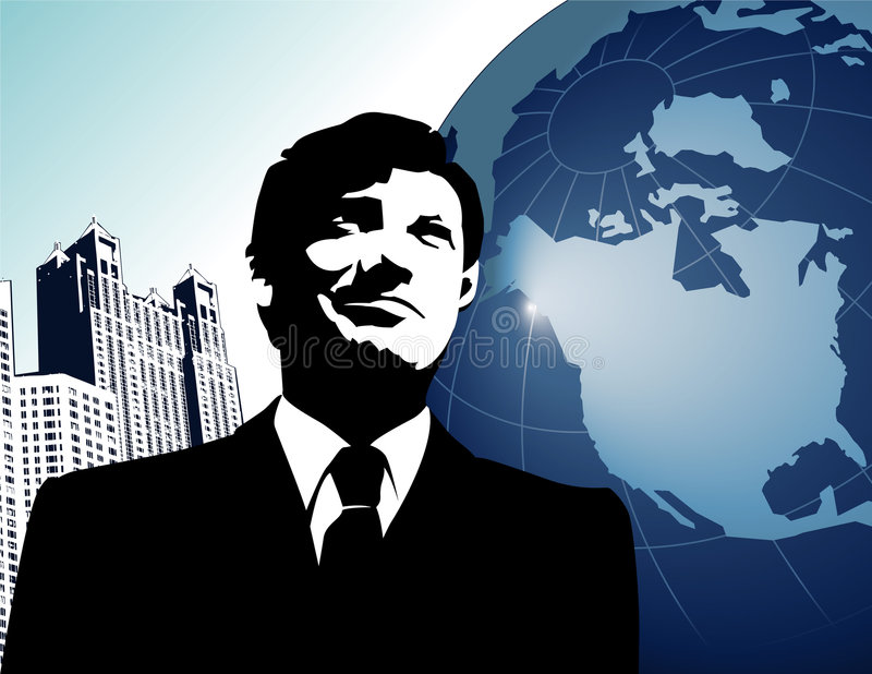 Global businessman. Abstract illustration of a successful businessman with the globe and city buildings in the background vector illustration