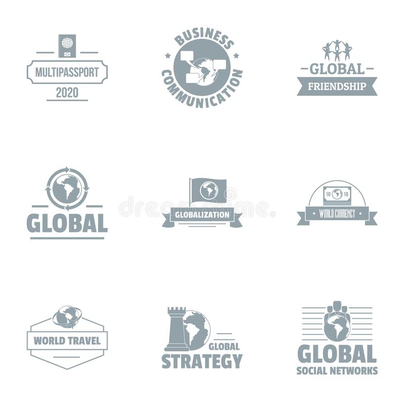 Global businessman logo set, simple style. Global businessman logo set. Simple set of 9 global businessman vector logo for web isolated on white background vector illustration