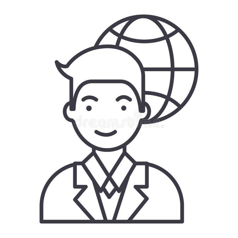 Global businessman vector line icon, sign, illustration on background, editable strokes. Global businessman vector line icon, sign, illustration on white vector illustration