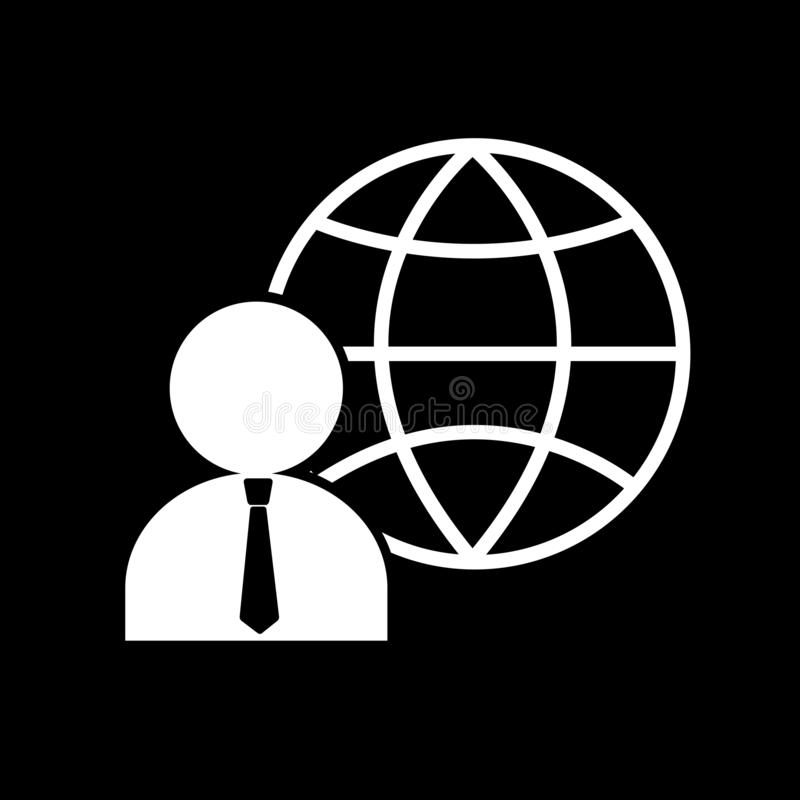 Global businessman for web icons on a black background. And symbol and global vector illustration