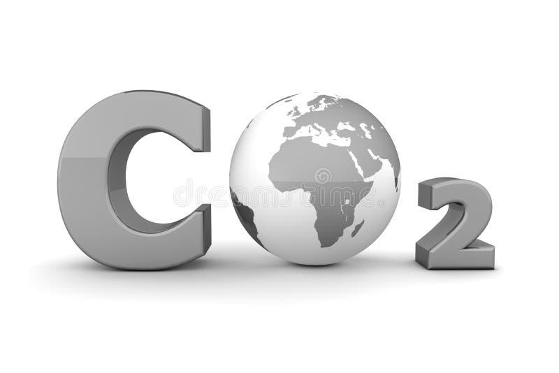 Global Carbon Dioxide CO2 - Shiny Grey stock illustration