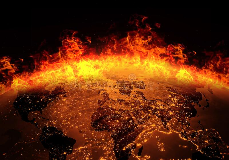 Global catastrophe and Global Warming  Pollution Concept Wildfire / Global burning with fire stock illustration