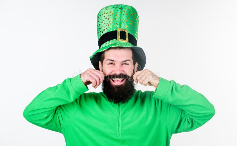 Global celebration of irish culture. Man bearded hipster wear green clothing and hat patricks day. Saint patricks day. Holiday. Green color part of celebration royalty free stock images