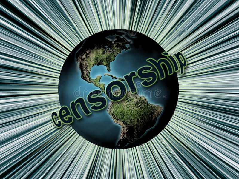 Global censorship. Planet Earth surrounded by Censorship word as Global Censorship concept vector illustration