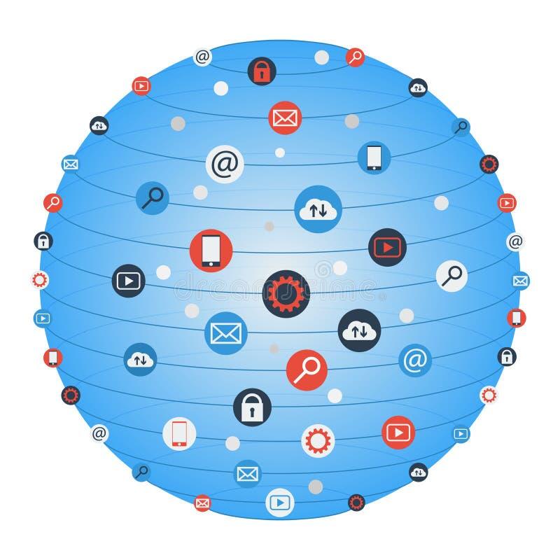 Global cirkel för begreppsinternetnätverkande med den plana symbolsillustrationen Idérik symbolssamling för social nätverkande stock illustrationer