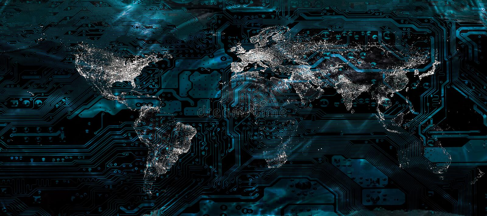 Global city lights world map on the motherboard pattern. stock photos