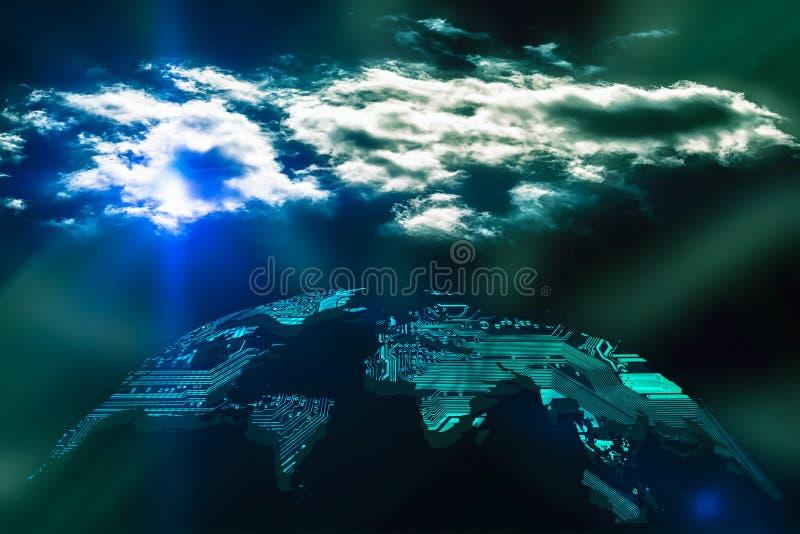 Global cloud computing concept stock image